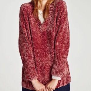 Zara chenille oversized pink sweater